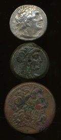 Ancients:Ancient Lots  , Ancients: Lot of three Ptolemaic AR and AE.... (Total: 3 coins)