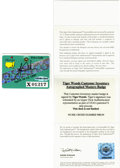 Golf Collectibles:Autographs, 1997 Tiger Woods Signed Masters Tournament Badge....
