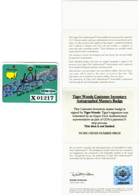 1997 Masters Tournament Badge Signed By Tiger Woods (UDA)