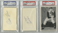 Autographs:Index Cards, Curt Flood, Tony Conigliaro, and Vern Law Signed Signatures, PSA Graded Lot of 3.... (Total: 3 items)