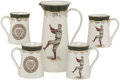 Baseball Collectibles:Others, Circa 1905 Harvard Baseball Porcelain Water Set by F. Earl Christy....