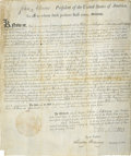 Autographs:U.S. Presidents, John Adams and Timothy Pickering Land Grant Signed....