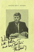 """Autographs:U.S. Presidents, John F. Kennedy Menu Signed as presidential candidate. Four pages, 5.5"""" x 8.5"""", Prairie Village, Kansas, October 22, 1960, ... (Total: 18 Items)"""