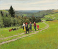 Fine Art - Painting, Russian:Modern (1900-1949), KUZMA VASILEVICH NICOLAEV (Russian, 1890-1972). Walk in theCountry. Oil on canvas. 21-1/2 x 25 inches (54.6 x 63.5 cm)...