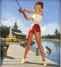 Pin-up and Glamour Art, GIL ELVGREN (American 1914 - 1980). Girl Fishing, NAPA adillustration. Oil on canvas. 30 x 27 in.. Signed lower right....