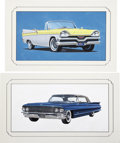 Paintings, STEVEN POJANSKI (American 1923 - 1997). Automobile illustration, group of 2, circa 1956-60. Gouache on board. 11 x 20 in... (Total: 2 Items)