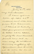 "Political:Presidential Relics, Robert Todd Lincoln Letter Signed while secretary of war. Three pages, 5"" x 8"", on departmental letterhead, Washington, 27 J..."