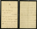 """Political:Presidential Relics, Mary Todd Lincoln Autograph Letter Signed """"Mary Lincoln"""" (concluding words and signature written vertically at top of fi... (Total: 2 Items)"""