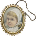 Estate Jewelry:Brooches - Pins, Victorian Ivory Painted Portrait, Half-Pearl, Gold Pendant-Brooch. ...