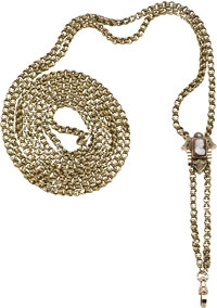 Lady's Gold Victorian Slide Chain with Cameo, circa 1875