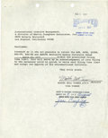 Music Memorabilia:Autographs and Signed Items, Tina Turner Signed Contract (1977)....