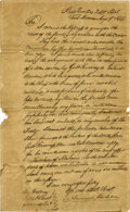 """Autographs:U.S. Presidents, Andrew Jackson Letter Signed. One page with integral address leaf,8"""" x 12.5"""", Fort Jackson, Alabama, August 9, 1814...."""
