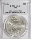 Modern Bullion Coins: , 1995 $1 Silver Eagle MS68 PCGS. PCGS Population (738/3739). NGCCensus: (456/54289). Mintage: 4,672,051. Numismedia Wsl. Pr...