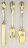 Silver & Vertu:Flatware, A RUSSIAN SILVER GILT FLATWARE SET. Sazikov, St. Petersburg, Russia, 1857. Marks: (double profile), (Imperial warrant), SA... (Total: 3 Items)