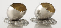 A PAIR OF AMERICAN SILVER AND SILVER GILT FIGURAL SALTS Gorham Manufacturing Co., Providence, Rhode Island, circa