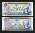 Canadian Currency: , BC-48b; 53a $5; $5 1972-1979. ... (Total: 2 notes)