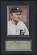 Autographs:Checks, Ty Cobb Signed Check Framed. ...