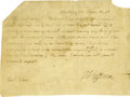 "Autographs:U.S. Presidents, Thomas Jefferson Autograph Letter Signed as President. One page, 6.5"" x 5"", Washington, D.C., March 15, 1808. ..."
