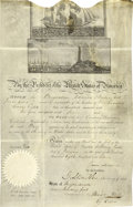 """Autographs:U.S. Presidents, James Madison Signed Ship's Passport for the """"Brigantine Edward of Newbury port"""". Partly printed on vellum with steel e..."""
