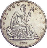 1839 P$1 Name Omitted, Judd-105 Restrike, Pollock-117, Low R.7, PR65 NGC....(PCGS# 11448)