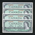Canadian Currency: , Four 1954 $1 Bank of Canada Notes. ... (Total: 4 notes)