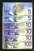 Canadian Currency: , BC-62a; 62aA; BC-63a; BC-63bA-i; BC-63b; BC-66a-i $5; $5; $10; $10; $10; $100 2001-2004.. ... (Total: 6 notes)