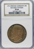 German States:Bavaria, German States: Bavaria. Ludwig III Bronze Pattern 3 Mark 1913,KM-X2a, Proof 64 NGC, glossy surfaces with some traces ofluster....