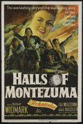 "Movie Posters:War, Halls of Montezuma (20th Century Fox, 1951). One Sheet (27"" X 41"").War. Directed by Lewis Milestone. Starring Richard Widma..."