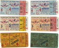 Baseball Collectibles:Tickets, 1952 World Series Ticket Stubs Lot of 6. Outstanding collection ofWorld Series ticket stubs from the 1952 cross-town matchu...