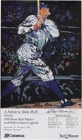 "Autographs:Others, LeRoy Neiman Signed Babe Ruth Poster. . LeRoy Neiman did thisposter for the Babe Ruth Museum in 1995. Measures 12x20"". The..."
