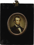 Military & Patriotic:Civil War, Abraham Lincoln Portrait Miniature on Ivory...