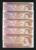 Canadian Currency: , BC-47a; a BC-47a; BC-47a-i; BC-47b; BC-47b $5 1974. . ... (Total: 5notes)