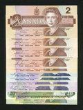 Canadian Currency: , BC-55a; BC-55b; BC55b; BC-55b-i; BC-55c-1; BC-56c; BC-56e-i;BC-57a; BC-57b; BC-54cA; BC-58a-ii $2; $2; $2, $2, $2; $5; $5;$1... (Total: 11 notes)