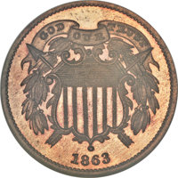 1863 2C Two Cents, Judd-312, Pollock-377, R.4, PR67 Red and Brown NGC....(PCGS# 70467)