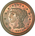 Patterns, 1863 3C Three Cents, Judd-319 Original, Pollock-384, R.5-6, PR64Red and Brown NGC....