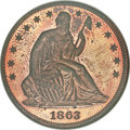 Patterns, 1863 50C Half Dollar, Judd-343, Pollock-415, R.7, PR63 Red and Brown Cameo NGC....