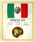 Explorers:Space Exploration, Apollo 13 Flown National Flag of Mexico from the Personal Collection of Mission Commander James Lovell....