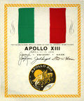 Explorers:Space Exploration, Apollo 13 Flown National Flag of Italy from the Personal Collectionof Mission Commander James Lovell....