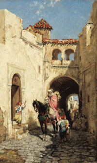 MARC ALFRED CHATAUD (French, 1833-1933) Street Scene in Algeria Oil on canvas 23-1/4 x 14-1/2 inc