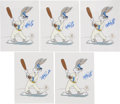 Baseball Collectibles:Others, Mike Schmidt Signed Bugs Bunny Cels Lot of 5....