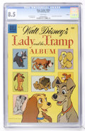 Golden Age (1938-1955):Cartoon Character, Four Color #634 Lady and the Tramp Album - Circle 8 pedigree (Dell, 1955) CGC VF+ 8.5 White pages....