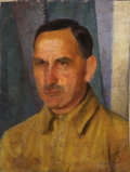 Fine Art - Painting, Russian, Attributed to KUZMA PETROV-VODKIN (Russian, 1878-1939). Portraitof a Man. Oil on canvas. 20-1/4 x 15-3/4 inches (51.4 x...