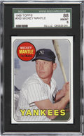 Baseball Cards:Singles (1960-1969), 1969 Topps Mickey Mantle, Yellow #500 SGC 88 NM/MT 8....