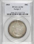 Early Half Dollars: , 1803 50C Large 3 AU50 PCGS. PCGS Population (16/26). NGC Census:(15/42). Mintage: 188,234. Numismedia Wsl. Price for NGC/P...