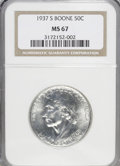 Commemorative Silver: , 1937-S 50C Boone MS67 NGC. NGC Census: (27/4). PCGS Population (27/1). Mintage: 2,506. Numismedia Wsl. Price for NGC/PCGS c...