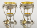 Silver Holloware, American:Open Salts, A PAIR OF SILVER AND SILVER GILT MASTER SALTS AND SPOONS. Tiffany& Co., New York, New York, circa 1900. Marks: TIFFANY &... (Total: 2 Items)
