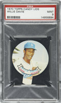 Baseball Cards:Singles (1970-Now), 1970 Topps Candy Lids Willie Davis PSA Mint 9....