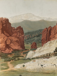 WILLIAM HENRY JACKSON (American, 1843-1942) Pikes Peak from the Garden of the Gods, 1885 Hand-colore