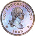 Patterns, 1863 2C Two Cents, Judd-305, Pollock-370, R.4, PR65 Brown NGC....