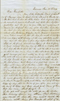 "Autographs:Military Figures, 1849 Gold Rush Letter. Four pages, 7.5"" x 12.5"", Monroe, Michigan,January 29, 1849, from a twenty-eight year-old Michigan ..."